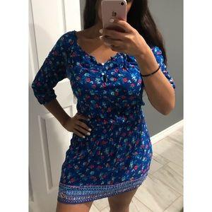 Hollister blue floral dress medium
